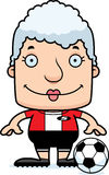 Cartoon Smiling Soccer Player Woman Stock Images