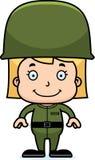 Cartoon Smiling Soldier Girl Royalty Free Stock Image