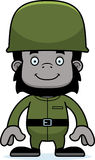 Cartoon Smiling Soldier Gorilla Royalty Free Stock Images