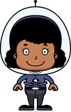 Cartoon Smiling Spaceman Girl Stock Photo