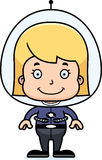 Cartoon Smiling Spaceman Girl Royalty Free Stock Images