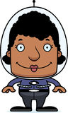 Cartoon Smiling Spaceman Woman Stock Photo