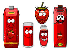 Cartoon smiling strawberry juice characters Royalty Free Stock Images