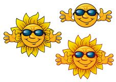 Cartoon smiling sun characters with sunglasses Stock Photo