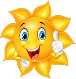 Cartoon smiling sun giving thumb up Stock Image