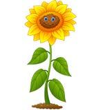 Cartoon smiling sunflower Stock Photography