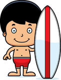 Cartoon Smiling Surfer Boy Royalty Free Stock Photos