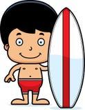 Cartoon Smiling Surfer Boy Royalty Free Stock Photos