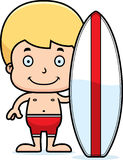 Cartoon Smiling Surfer Boy Royalty Free Stock Photography