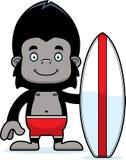 Cartoon Smiling Surfer Gorilla Royalty Free Stock Photography