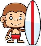Cartoon Smiling Surfer Monkey Stock Photo