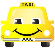 Cartoon smiling taxi car Royalty Free Stock Photos
