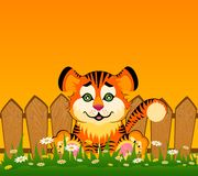 Cartoon smiling tiger after a fence Royalty Free Stock Photography