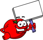 Cartoon Smiling Tomato holding blank sign Stock Photo