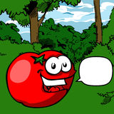 Cartoon Smiling Tomato with speech bubble Stock Images
