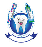 Cartoon Smiling tooth banner Stock Photo