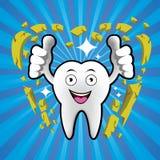 Cartoon Smiling tooth with broken limestone Stock Photos