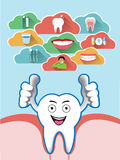 Cartoon smiling tooth with dental cloud set Stock Image