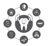 Cartoon Smiling tooth and Dental icons set Stock Image