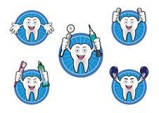 Cartoon Smiling tooth icons set Stock Photos