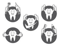 Cartoon Smiling tooth icons set Stock Photography