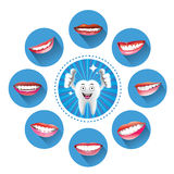 Cartoon Smiling tooth with Set of smiles Stock Image