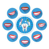 Cartoon Smiling tooth with Set of smiles Stock Images