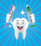 Cartoon Smiling tooth with toothbrush and toothpaste Royalty Free Stock Image