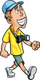 Cartoon smiling tourist with a camera Stock Photography