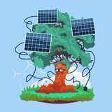 Cartoon Smiling Tree With Solar Panels Renewable Energy Source. Flat Vector Illustration royalty free illustration