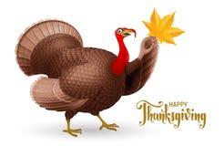 Free Cartoon Smiling Turkey Bird With Hand Writting Phrase Happy Thanksgiving Royalty Free Stock Photos - 162577058