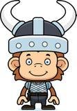 Cartoon Smiling Viking Monkey Royalty Free Stock Images