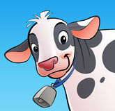Smiling cow with a cowbell. A cartoon smiling, white with dots, cow with a cowbell Stock Photography