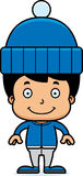 Cartoon Smiling Winter Boy Royalty Free Stock Images