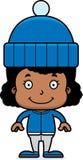 Cartoon Smiling Winter Girl Royalty Free Stock Image