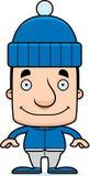 Cartoon Smiling Winter Man Stock Image