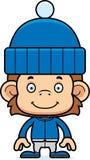Cartoon Smiling Winter Monkey Royalty Free Stock Images