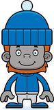 Cartoon Smiling Winter Orangutan Royalty Free Stock Photos