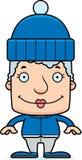 Cartoon Smiling Winter Woman Royalty Free Stock Image