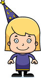 Cartoon Smiling Wizard Girl Royalty Free Stock Images