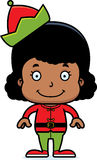 Cartoon Smiling Xmas Elf Girl Stock Images