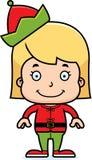 Cartoon Smiling Xmas Elf Girl Royalty Free Stock Photos