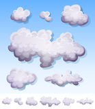 Cartoon Smoke, Fog And Clouds Set. Illustration of a set of cartoon clouds, smoke patterns and fog icons on blue sky and isolated on white background Royalty Free Stock Photography