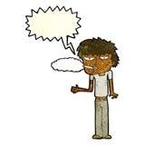 Cartoon smoker with speech bubble Royalty Free Stock Photography