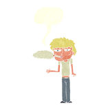 Cartoon smoker with speech bubble Stock Images