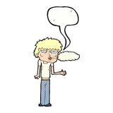 cartoon smoker with speech bubble Stock Photography