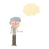 Cartoon smoker with thought bubble Stock Images
