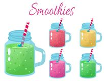 Cartoon smoothies. Organic fruit shake smoothie. Cartoon Organic fruit flat smoothies stock illustration