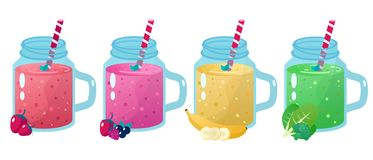 Cartoon smoothies. Organic fruit shake smoothie. Cartoon Organic fruit flat smoothies vector illustration