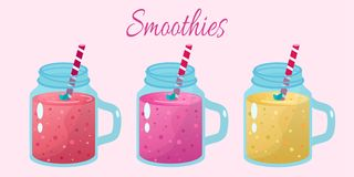 Cartoon smoothies. Organic fruit shake smoothie. Cartoon Organic fruit flat smoothies royalty free illustration